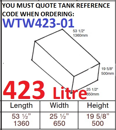 423 LITRE Water Tank & Loose Hatch WTW423-01