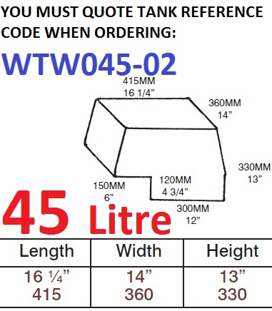 45 LITRE Water Tank & Loose Hatch WTW045-02