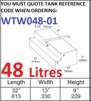 48 LITRE Water Tank & Loose Hatch WTW048-01