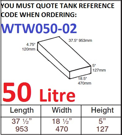 50 LITRE Water Tank & Loose Hatch WTW050-02