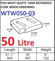 50 LITRE Baffled Water Tank & Loose Hatch WTW050-03