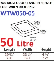 50 LITRE Water Tank & Loose Hatch WTW050-05