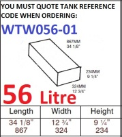 56 LITRE Water Tank & HATCH WTW056-01