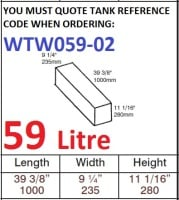 59 LITRE Baffled Water Tank & Loose Hatch WTW059-02