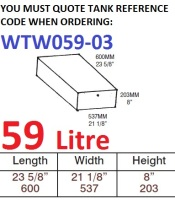 59 LITRE Water Tank & Loose Hatch WTW059-03