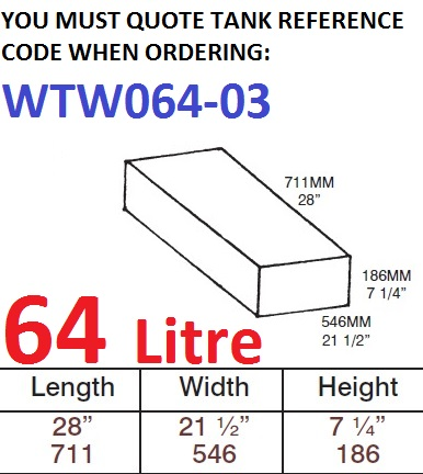 64 LITRE Water Tank & Loose Hatch WTW064-03