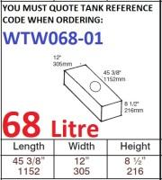 68 LITRE Water Tank & Loose Hatch WTW068-01