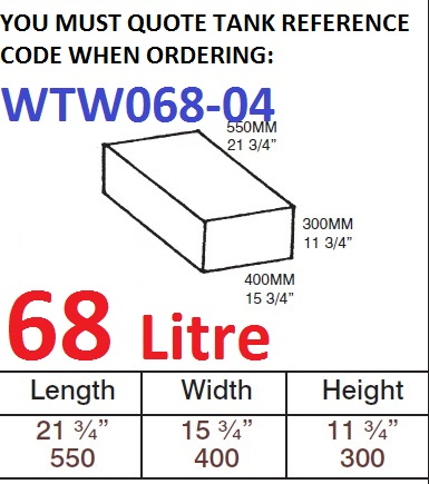 68 LITRE Water Tank & RED CAP WTW068-04