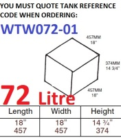 72 LITRE Baffled Water Tank & Loose Hatch WTW072-01