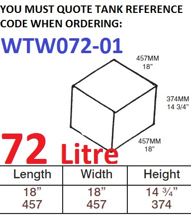 72 LITRE Water Tank & Loose Hatch WTW072-01