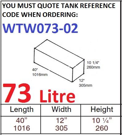 73 LITRE Water Tank & Loose Hatch WTW073-02