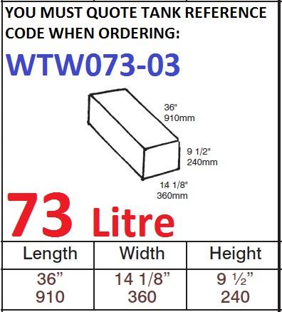 73 LITRE Water Tank & Loose Hatch WTW073-03