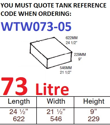 73 LITRE Water Tank & RAISED RED CAP WTW073-05
