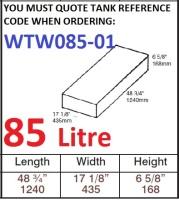 85 LITRE Baffled Water Tank & Loose Hatch WTW085-01