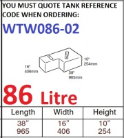 86 LITRE Baffled Water Tank & Loose Hatch WTW086-02