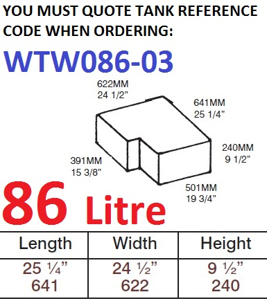 86 LITRE Water Tank & Loose Hatch WTW086-03