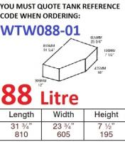 88 LITRE Baffled Water Tank & Loose Hatch WTW088-01
