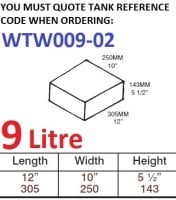 9 LITRE Water Tank & Loose Hatch WTW009-02