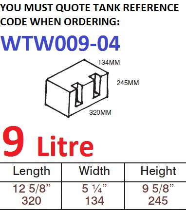 9 LITRE Water Tank & Loose Hatch WTW009-04