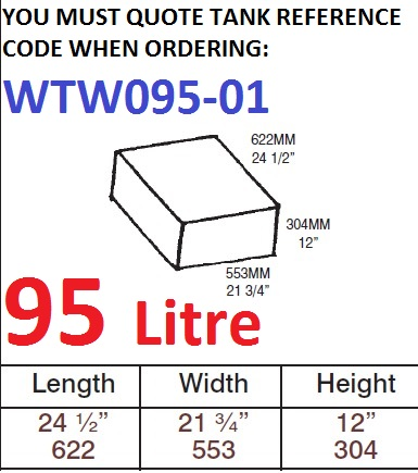 95 LITRE Water Tank & Loose Hatch WTW095-01