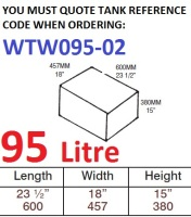 95 LITRE Baffled Water Tank & Loose Hatch WTW095-02