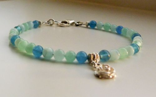 Rose Charm Bracelet in Blue Banded Agate with Sterling Silver