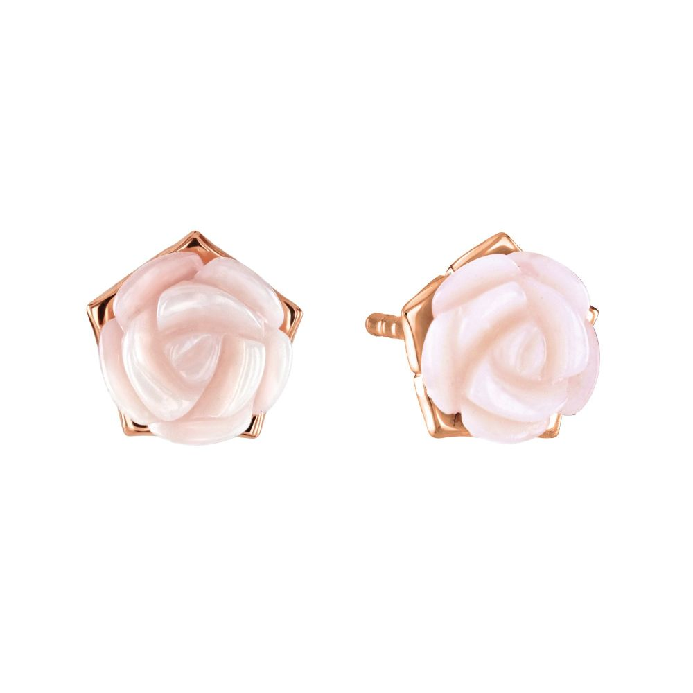 Pink Rose Mother of Pearl Studs Rose Gold Plated