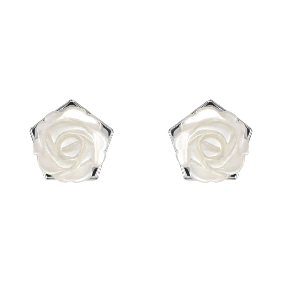 White Mother of Pearl Rose Studs