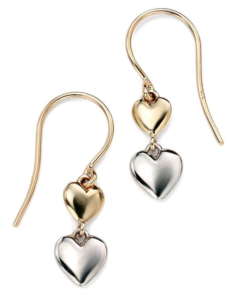 9CT WHITE AND YELLOW DOUBLE HEART DROPS