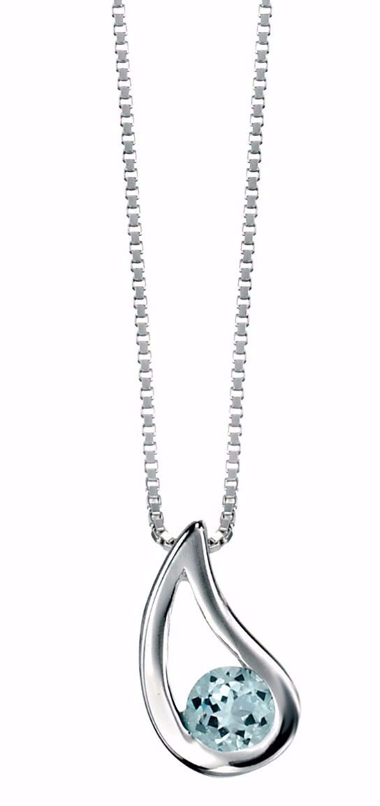 STERLING SILVER TEARDROP PENDANT WITH BLUE TOPAZ OR AMETHYST GEMSTONE
