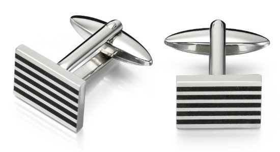v481 rectangle w 5 black stripes cufflink
