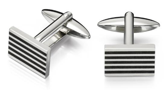 v481 rectangle w 5 black stripes cufflink