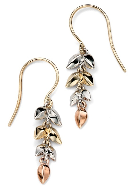 ge918 multi colour gold leaves earrings