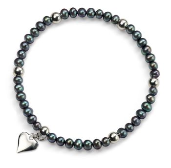 BLACK PEARL BRACELET WITH HEART CHARM