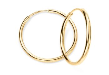 GOLD HOOP EARRINGS 15mm