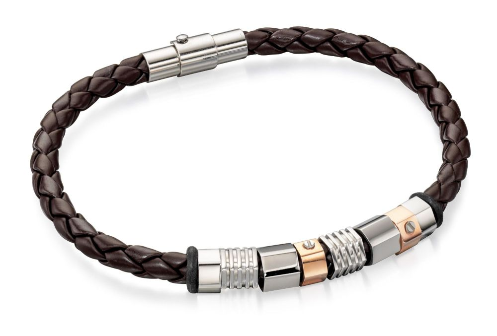 MEN'S LEATHER STEEL AND ROSE GOLD PVD BRACELET