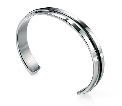 MEN'S STEEL BANGLE WITH BLACK PVD DETAIL