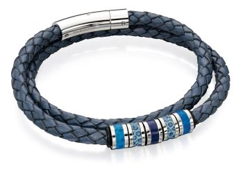 ESCAPE MEN'S LEATHER AND STEEL BRACELET