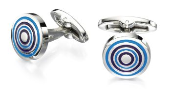 ROUND CUFFLINKS IN BLUE AND SILVER