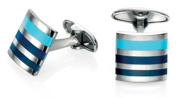 RECTANGULAR STEEL CUFFLINKS WITH BLUE STRIPES
