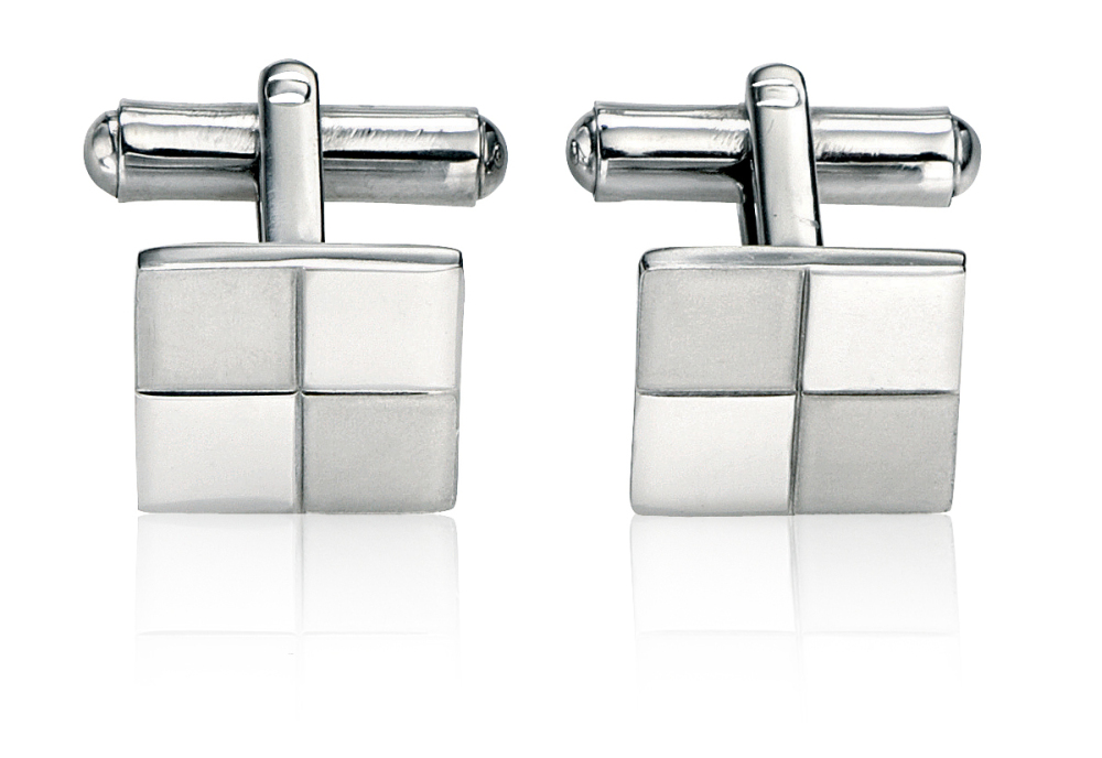 MEN'S SQUARE CUFFLINKS IN BRUSHED AND POLISHED STEEL