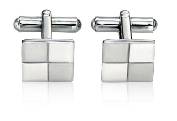 SQUARE CUFFLINKS IN BRUSHED AND POLISHED STEEL