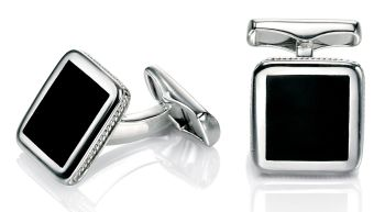 STERLING SILVER SQUARE CUFFLINKS WITH BLACK AGATE