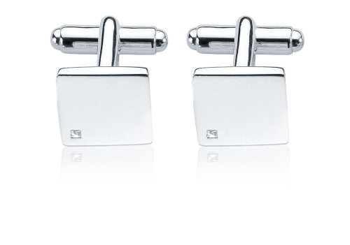 DIAMOND SET STERLING SILVER CUFFLINKS