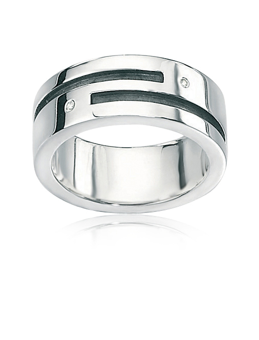 MEN'S RING IN STERLING SILVER WITH DIAMONDS