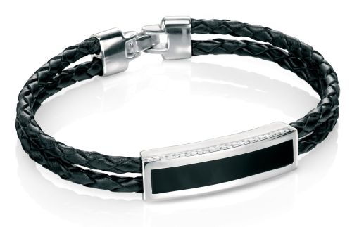 STERLING SILVER AND LEATHER BRACELET WITH BLACK AGATE