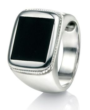 CHUNKY STERLING SILVER SIGNET RING WITH BLACK AGATE