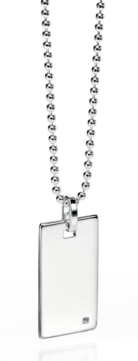 MEN'S RECTANGULAR DOG TAG NECKLACE WITH DIAMOND