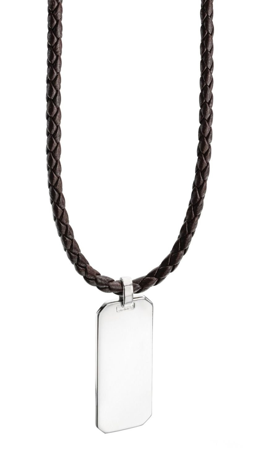 MEN'S BROWN LEATHER NECKLACE WITH 925 SILVER DOG TAG