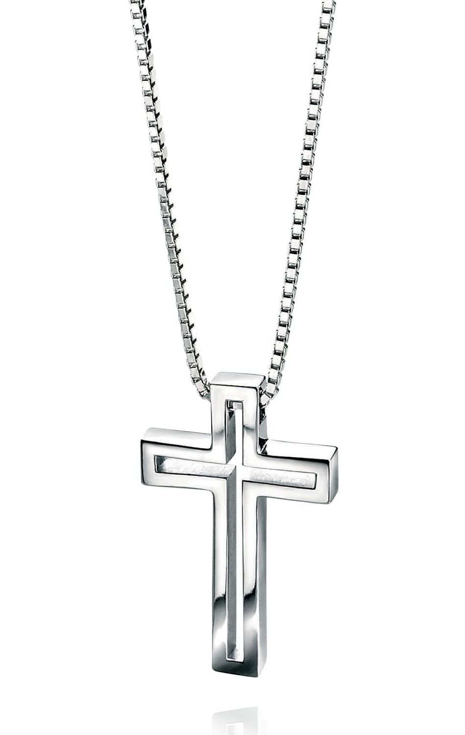 MEN'S STERLING SILVER CROSS WITH CUT OUT DESIGN